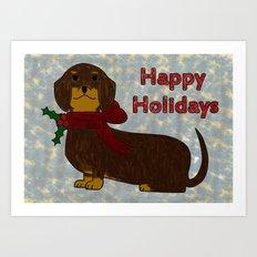Happy Holidays Dachshund Art Print