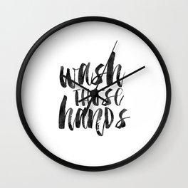 wash those hands, bathroom decor,bathroom sign,quote prints,nursery,shower decor,typography poster Wall Clock