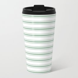 Moss Green and White Mattress Ticking Wide Striped Pattern Travel Mug