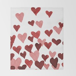 Valentine's Day Watercolor Hearts - red Throw Blanket