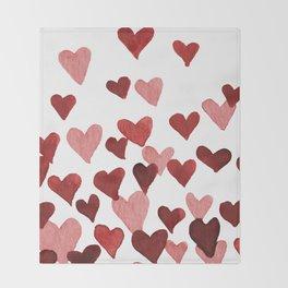 Valentine's Day Watercolor Hearts - red Decke