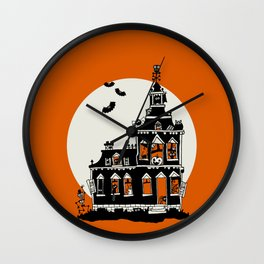 Vintage Style Haunted House - Happy Halloween Wall Clock