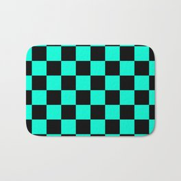 Black and Aqua Checkerboard Pattern Bath Mat