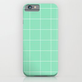 Graph Paper (White & Mint Pattern) iPhone Case