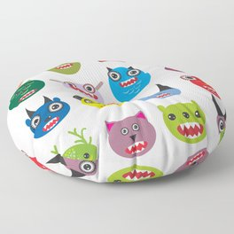 Cute cartoon Monsters Set. Big collection on white background Floor Pillow