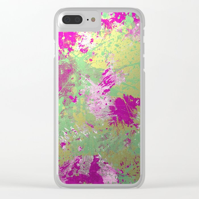 Metallic Pink Splatter Painting - Abstract pink, blue and gold metallic painting Clear iPhone Case