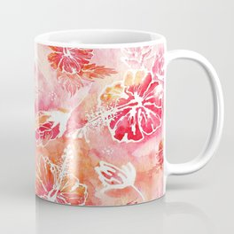 Hibiscus | Tropical Watercolor in Coral, Pink, Orange Coffee Mug