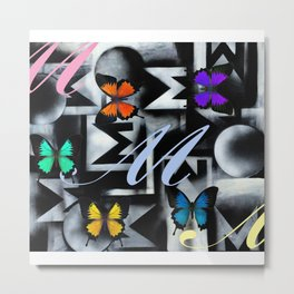 Monarch Butterfly Modern Abstract Painting Rainbow Art Metal Print