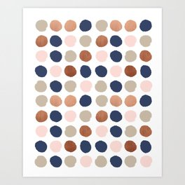 Rose Gold navy copper sparkle modern dots polka dots rosegold trendy pattern cell phone accessories Art Print