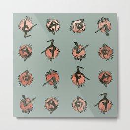 Lyra aerial hoop teal pink metallic pattern Metal Print