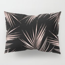 Rosegold Palm Tree Leaves on Midnight Black Pillow Sham
