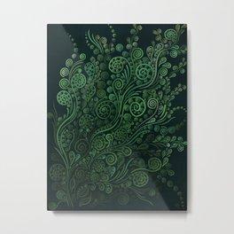 Green ornaments, dark Metal Print