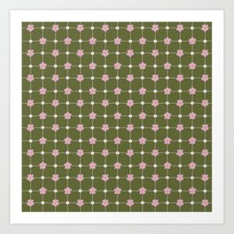 Green and Pink Daisies // Checkered Gingham Pattern Art Print
