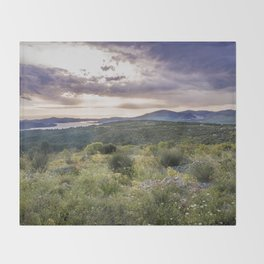Amazing sunset over the Ciovo island, Croatia Throw Blanket