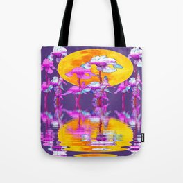PURPLE-WHITE IRIS & MOON WATER GARDEN  REFLECTION Tote Bag