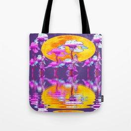 PURPLE-WHITE IRIS & MOON WATER GARDEN  REFLECTION Tote Bag