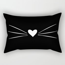 Cat Heart Nose & Whiskers White on Black Rectangular Pillow