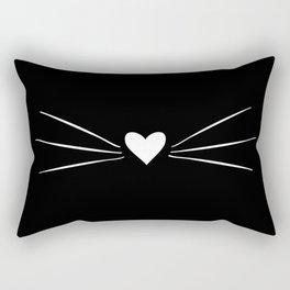 Cat Heart Nose & Whiskers White on Black Rectangular Pillow