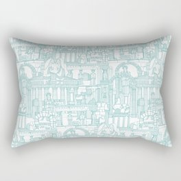 Ancient Greece teal white Rectangular Pillow