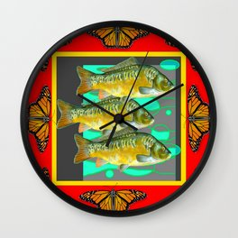 MONARCH BUTTERFLIES YELLOW-RED FISH VIGNETTE Wall Clock