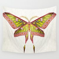 moth Wall Tapestries featuring moth by Manoou
