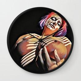 2376s-JG Jessica Striped in Light, Beautiful Big Bare Breasts Wall Clock