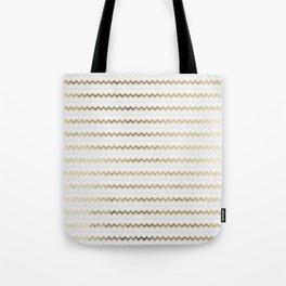 Elegant glam faux gold white geometrical chevron pattern Tote Bag