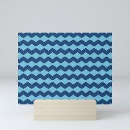 Cute Blue Sawtooth Pattern Mini Art Print