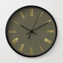 Golden Roman Numbers Wall Clock on Olive Green Background Wall Clock