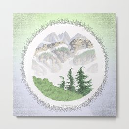 SUMMER IN THE NORTH CASCADE MOUNTAINS PEN DRAWING Metal Print