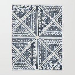 Simply Tribal Tile in Indigo Blue on Lunar Gray Poster