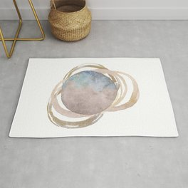 Abstract Circles Fake Glitter WatercolorSpace Design Rug