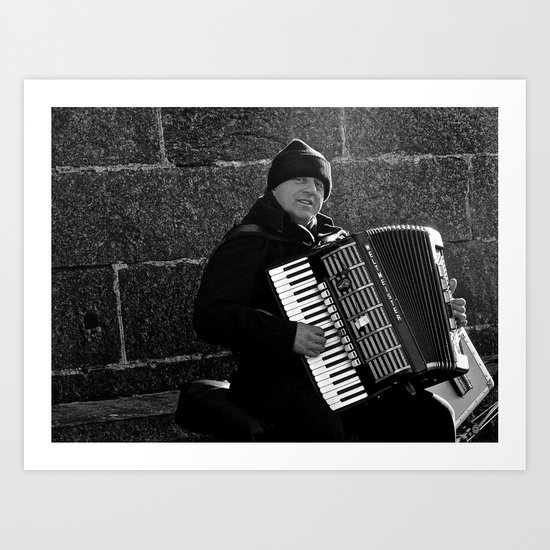 Accordion Busking on Howth Bay Art Print