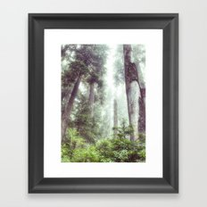 Dreamy Forest Fog Portrait Framed Art Print
