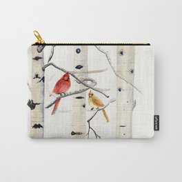 Birch Trees and Cardinal Carry-All Pouch