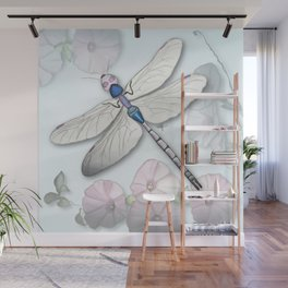 Dragonfly and Morning Glories Wall Mural