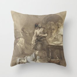 Man and woman lying on the floor in a Moorish room, Charles Rochussen, 1824 - 1894 Throw Pillow