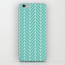 Turquoise Herringbone Pattern iPhone Skin