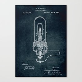 1880 Electric Light Thomas A Edison patent art Canvas Print
