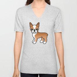 Red Boston Terrier Cute Cartoon Illustration Unisex V-Neck