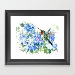 Hydrangea Flowers and Ruby Throat Hummingbird Framed Art Print