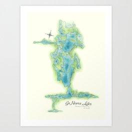 Go Home Lake - Nature Map Art Print