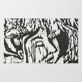 Woman with Foxes- Woodcut Rug