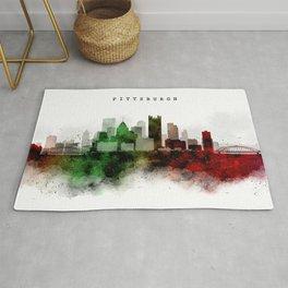 Pittsburgh Watercolor Skyline Rug