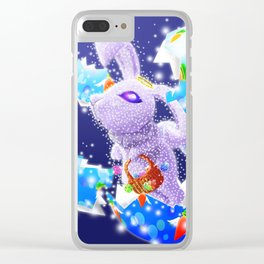 'You Cracked the Egg' Series - Easter Angelic Bunny with Premium Background Clear iPhone Case