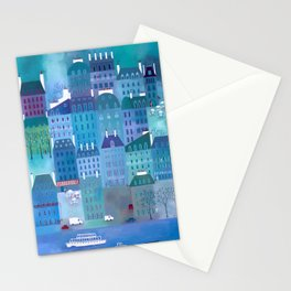 Paris Blues Painting Stationery Cards