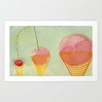cherry Art Prints featuring Cherry by Angella Meanix