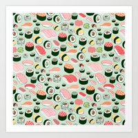 sushi Art Prints featuring Sushi Love by Kristin Nohe Juchs