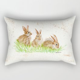 Hoppy Trio Bunnies - animal watercolor painting of rabbits Rectangular Pillow