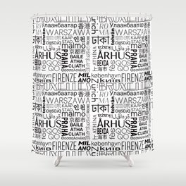 Text and the City - Black + White Shower Curtain